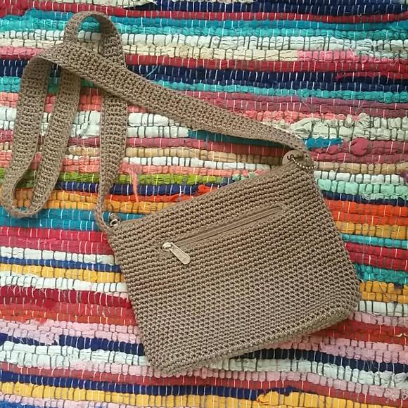 The Sak Handbags - The Sak small crocheted  crossbody bag beige